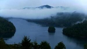 lake nantahala at dusk