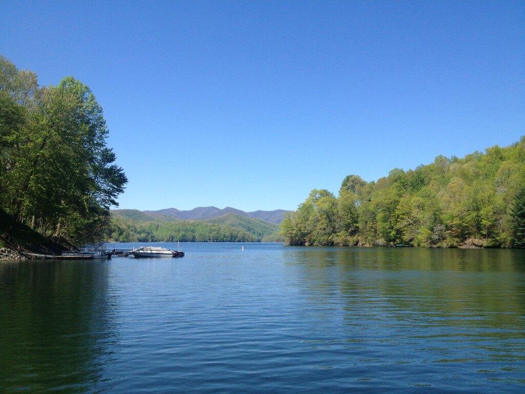 view from Lake Nantahala marina