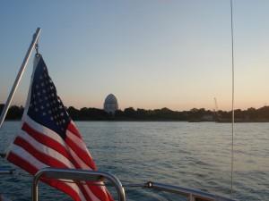 american flag on the lake